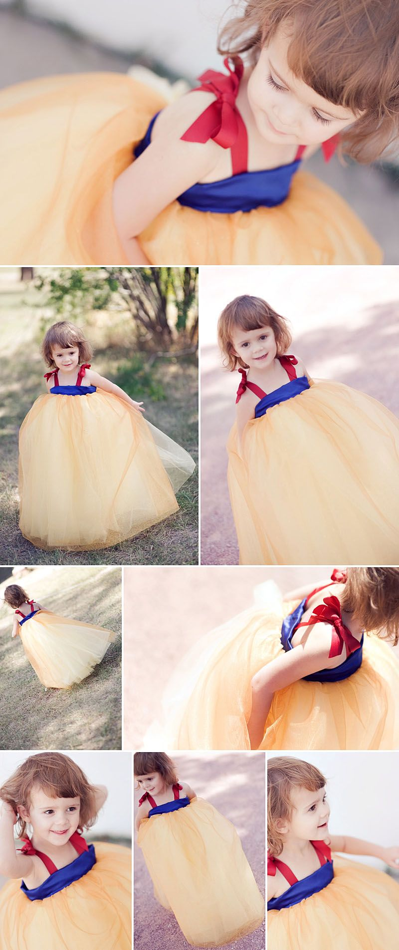 Snow White Dress! Use the same pattern but with different colors for all the Disney princesses