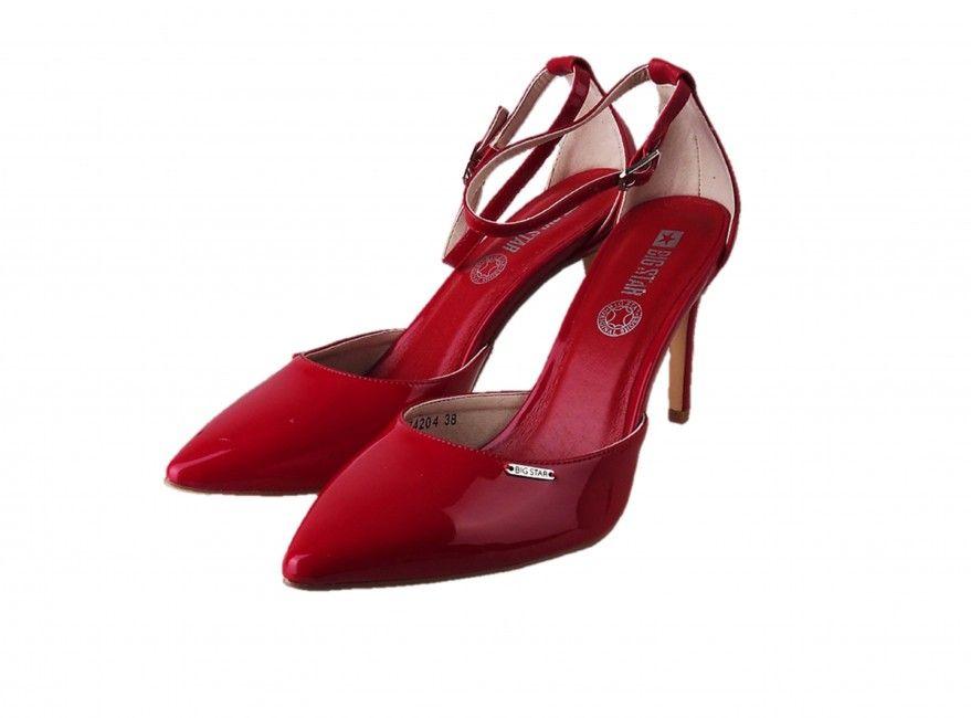 Big Star dámske červené lodičky s remienkom  5616e2950f5