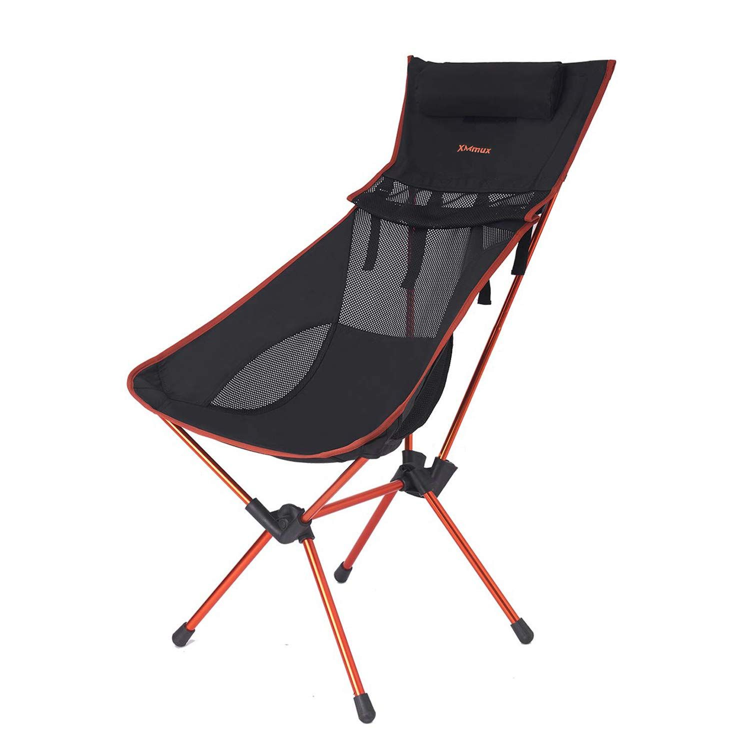 Xmmux Lightweight Folding Back Camping Chair With Headrest Portable Compact For Outdoor Camp Travel P Camping Chair Folding Camping Chairs Camping Furniture