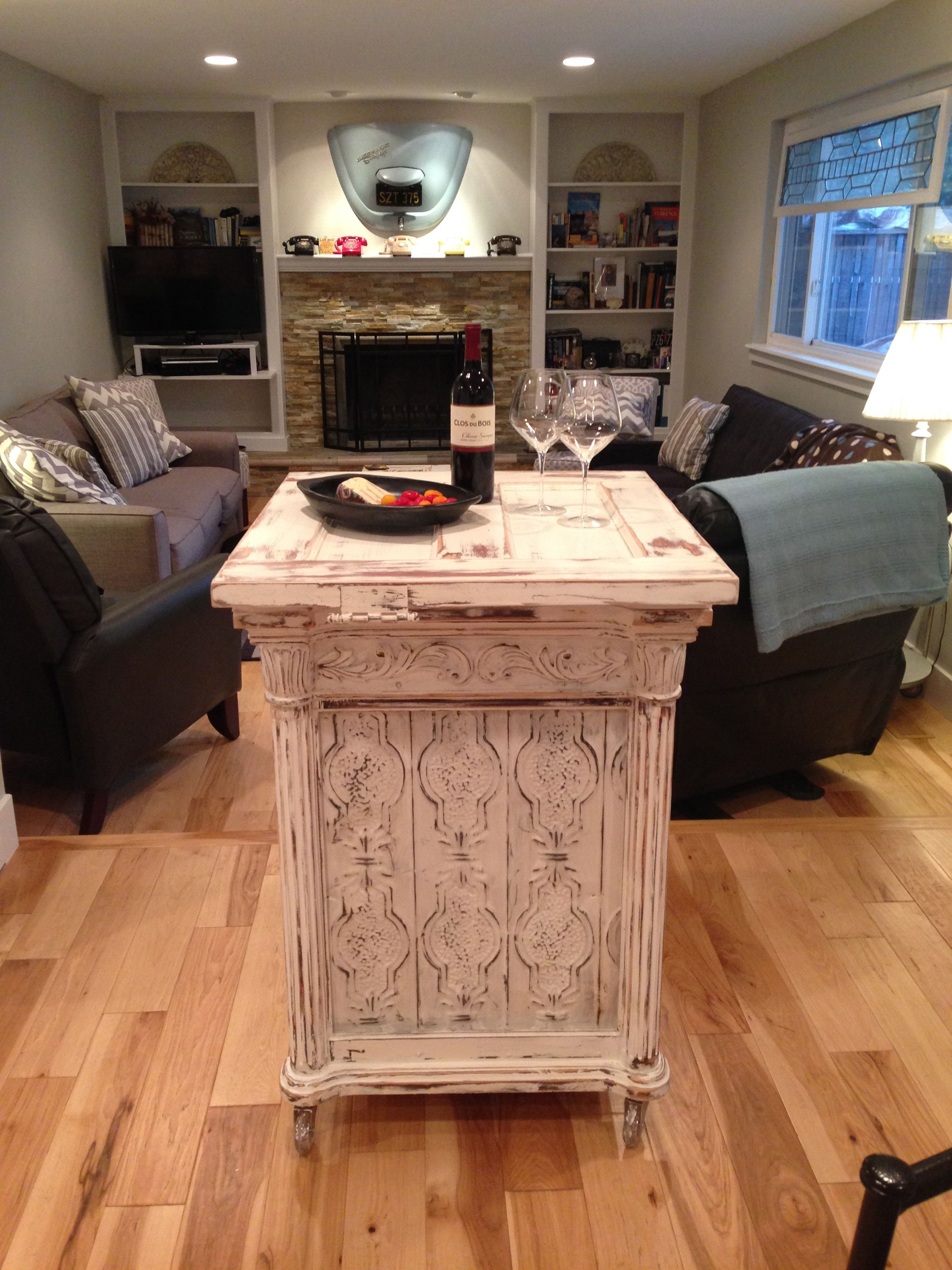 Upcycled Moblie Bar Kitchen Island Made From Rescued