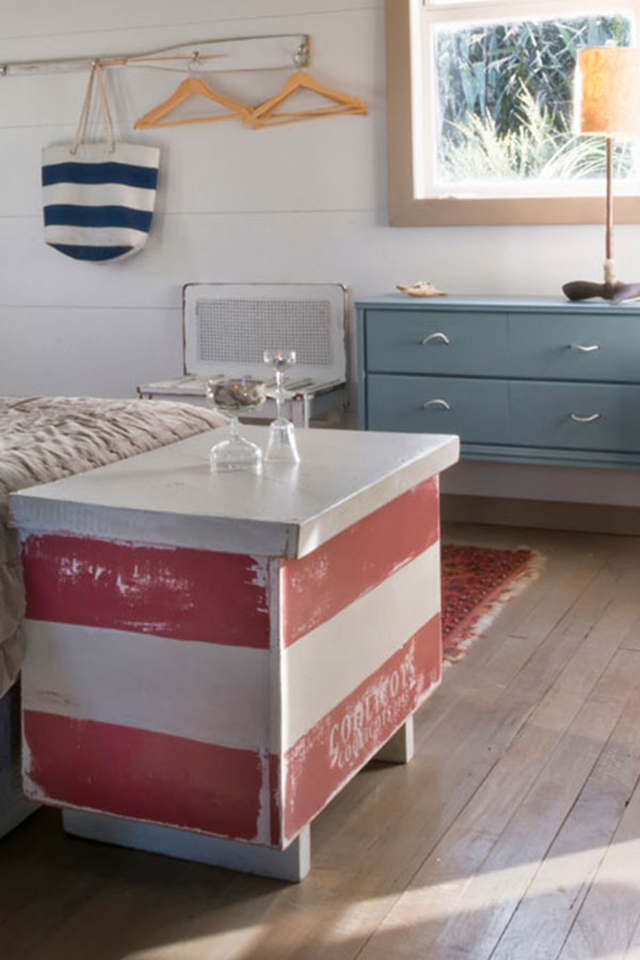 Get The Look Of The Side Table With Resene Alabaster And Resene Simply Red The Walls Are Painted In Resene Sea Fog And Cabinetry In Beach Chic Cabinetry Chic