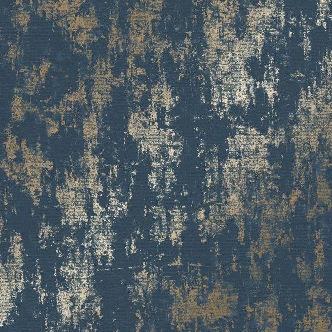 Milan Metallic Wallpaper Navy Gold Metallic wallpaper