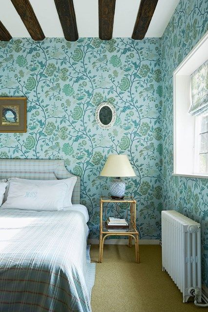 Blue Bedroom With Floral Wallpaper With Images Home Wallpaper