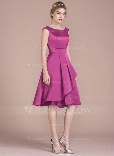 deda0524ca A-Line/Princess Scoop Neck Knee-Length Satin Bridesmaid Dress With Cascading  Ruffles (007104719)