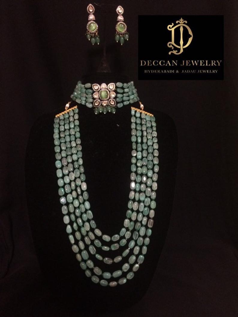 Indian Bridal Choker Necklace Earring Long Victorian Pearl Choker ...