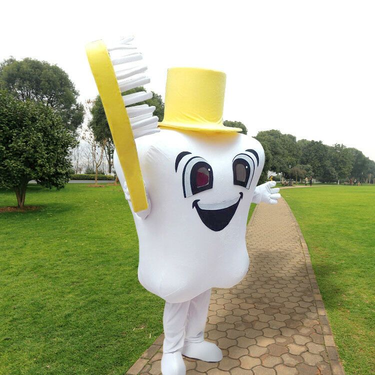 Tooth Mascot Costume Adult Cartoon Fancy Dress Dental Care Advertising Clothing
