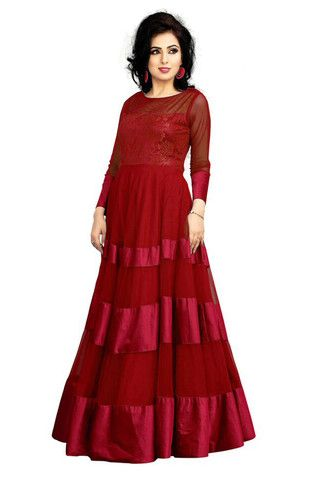 RED SOLID SEMI STITCHED GOWN | Awesome Gown | Pinterest | Gowns and ...