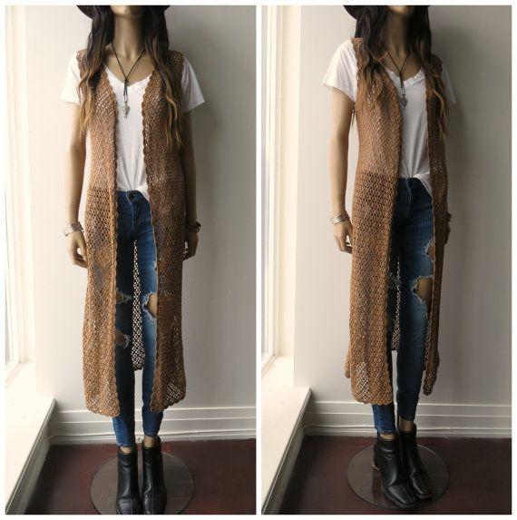 CROCHET open weave Knit Long Duster Hippie Boho sleeveless ...