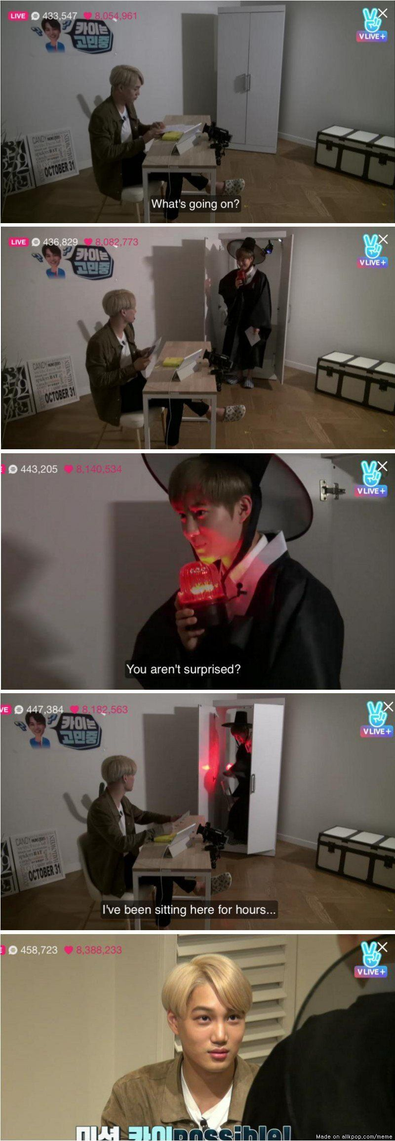 Suho failing miserably at trying to scare Kai and getting judged in return lmao