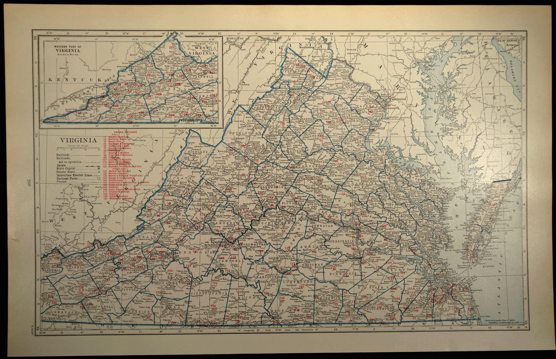 Virginia Railroad Map LARGE Map Virginia Wall Art Map Wall Decor