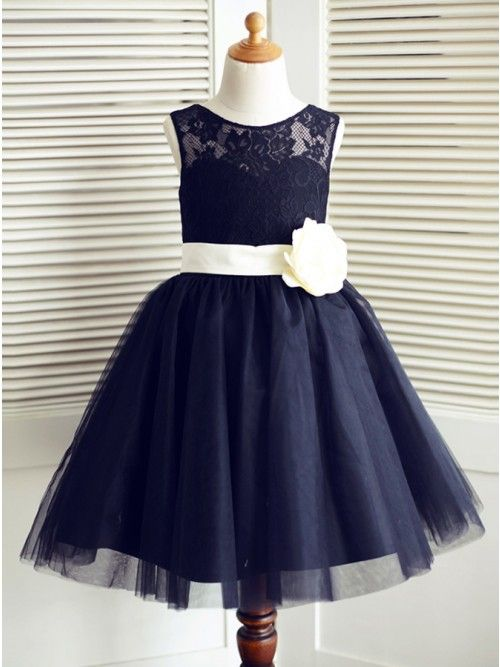 562a8166f A-Line Round Neck Navy Blue Tulle Flower Girl Dress with Lace Flower ...