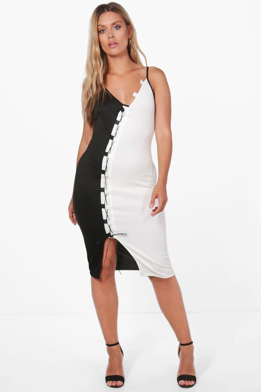 301616e3d2b2 Plus Jessica Contrast Lace Up Midi Dress | Pinterest | Midi dresses ...