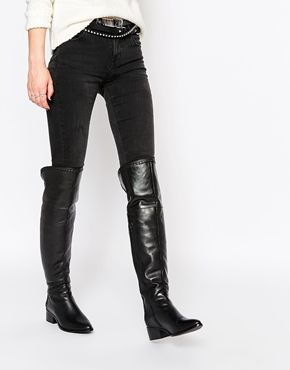 Buy Women Shoes / Faith Nash Black Leather Heeled Over The Knee Boots