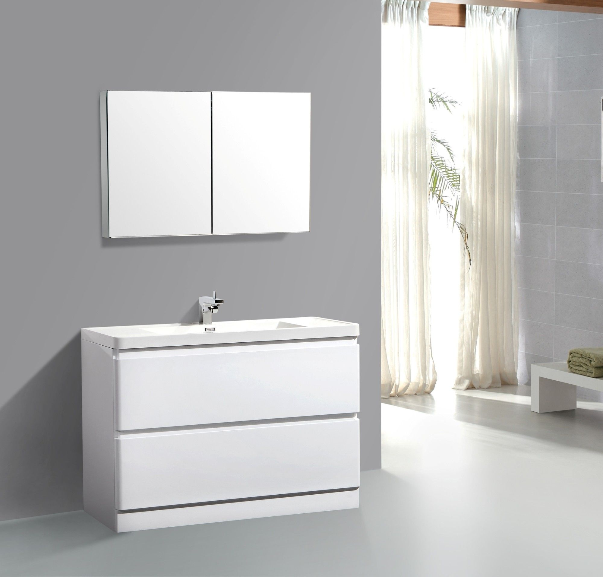 "Aqua Decor Glaciar 48"" Modern Bathroom Vanity Set W Medicine Mesmerizing Designer Bathroom Cabinet Inspiration Design"