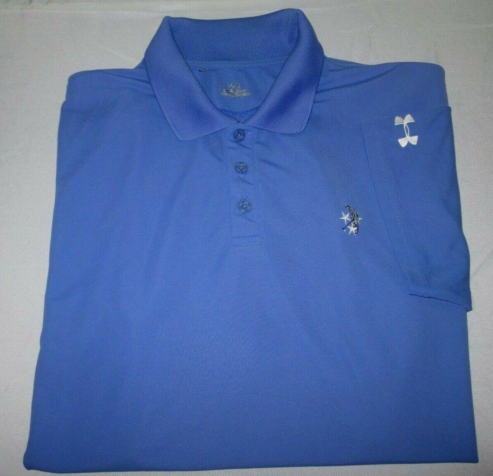 Mens Under Armour Heatgear Polo Shirt L Large Blue Military Golf Logo Elastane Underarmour Polorugby In 2020 Military Shirts Golf Logo Under Armour Military