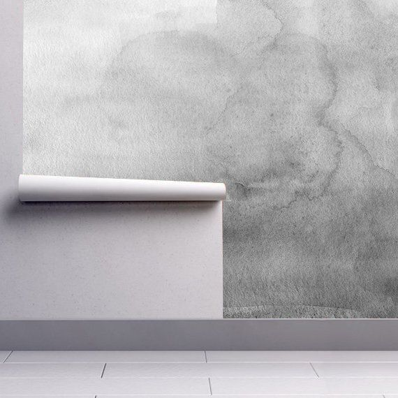 Grayscale Ombre Watercolor Wallpaper Luxury Removable Peel
