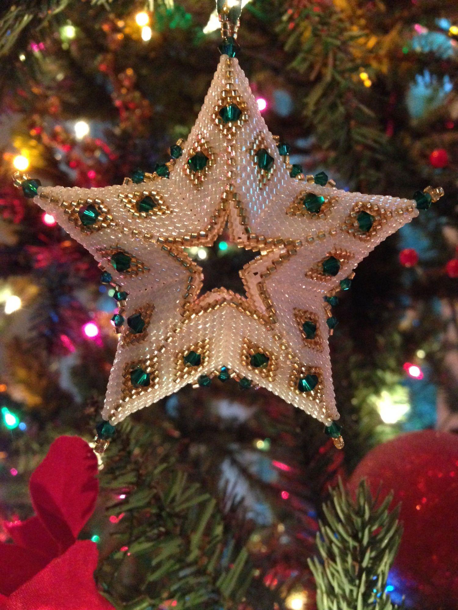 3D Beaded Star Christmas Ornament Pattern Tutorial PDF in