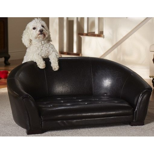 The Easy Clean Artemis Dog Sofa Black Leather For Small Dogs Upto