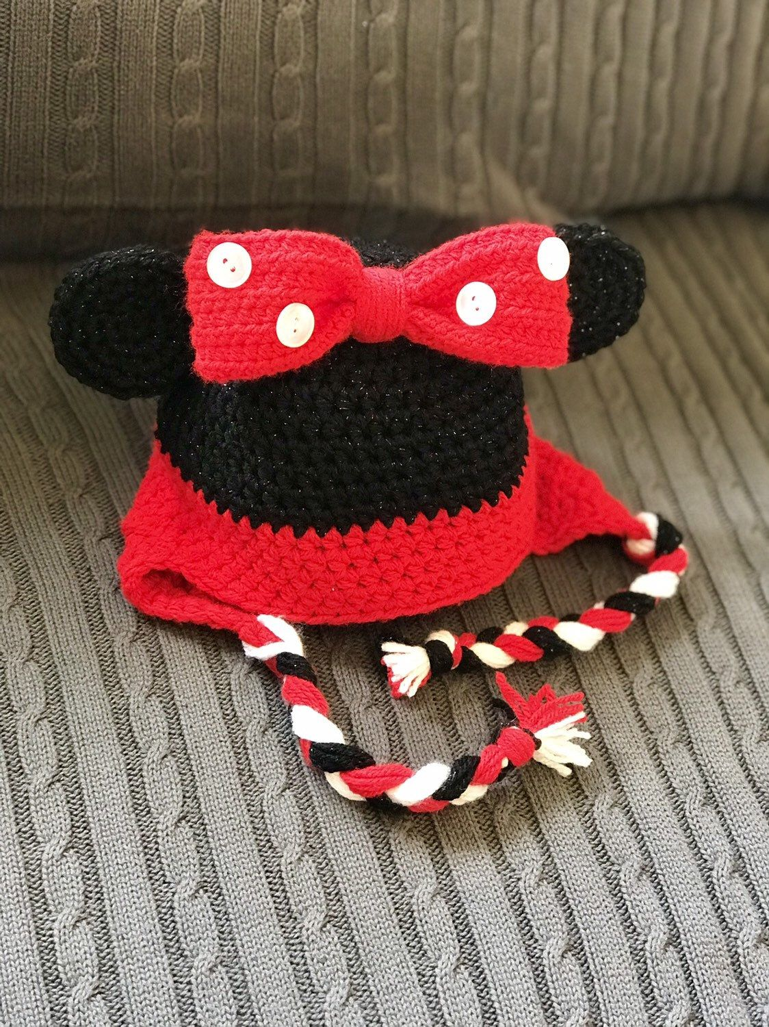 Disney minnie or mickey mouse winter hat for baby child