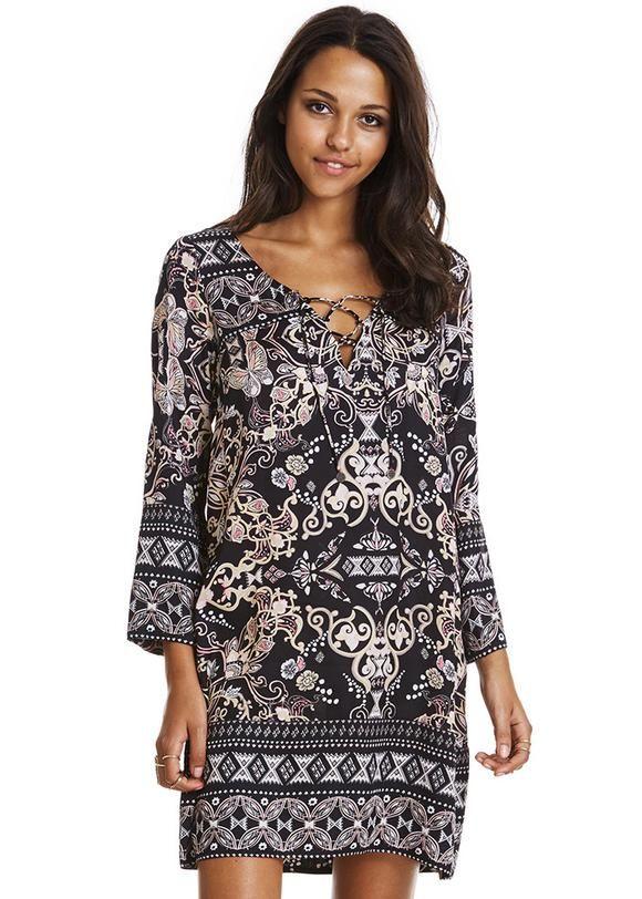 e270a1818b08 Kjole sort med print 117M-985 Odyssey Short Dress - dark multi ...