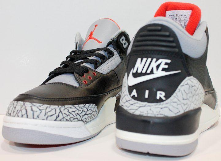 2001 Air Jordan 3 Noir Ciment À Vendre
