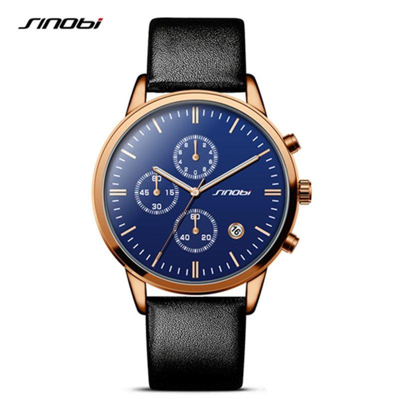 02127d95c97 SINOBI Rose Gold Blue Watches Men Fashion Dress Woman s Quartz Watch Unique Design  Leather Wristwatch for Male