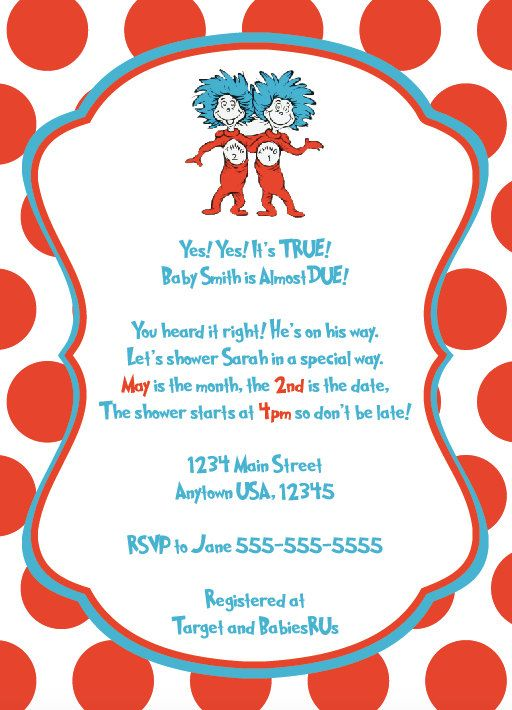 Dr Seuss Baby Shower Thing 1 2 Cat In The Hat Personalized Invite Kids Birthday Party Invitation DIY Print Yourself By