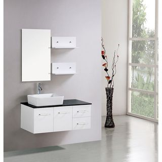 Kokols Floating 36 Inch White Cabinet Wall Mount Bathroom Vanity