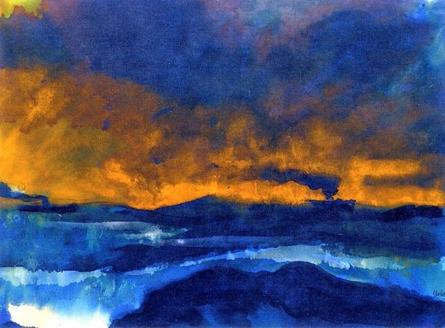 The Sea with Steamships under a Yellow Sky, circa 1935 Emil Nolde