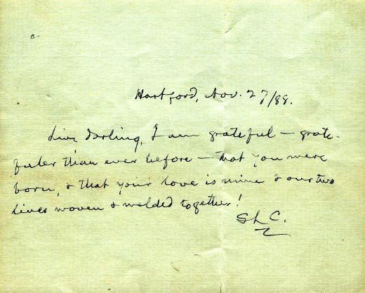 """Love note from Mark Twain to his wife Olivia: """"Livy darling, I am grateful— gratefuler than ever before —that you were born & that your love is mine & our two lives woven & welded together"""