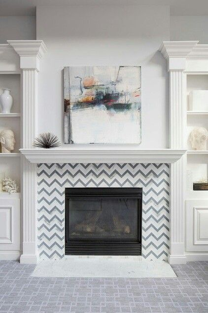 Chevron Tile Fireplace Fireplace Surrounds Fireplace Tile