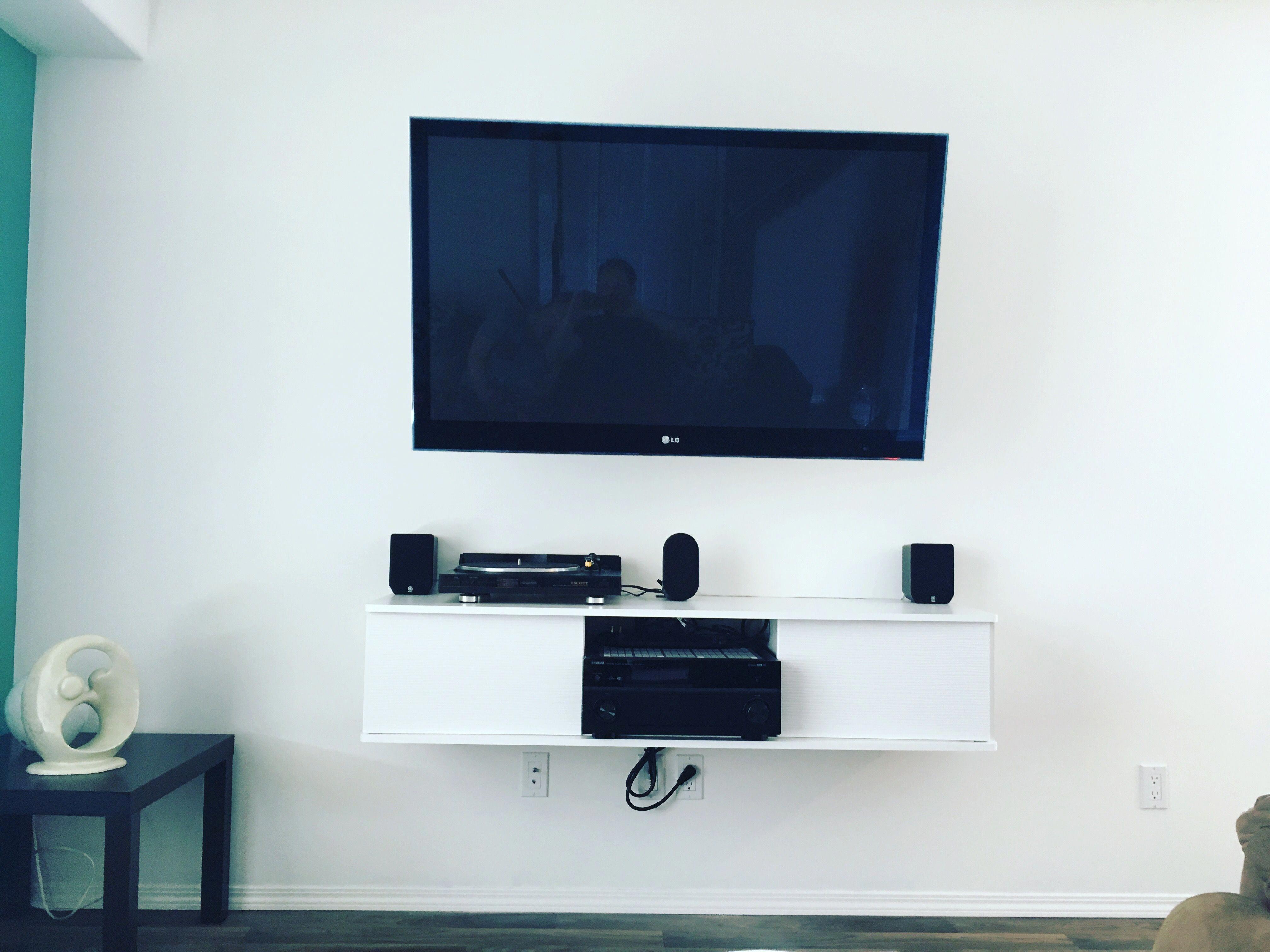 Tv Wall Mount Minimalistic Wallmountedtable Flat Screen Mounted