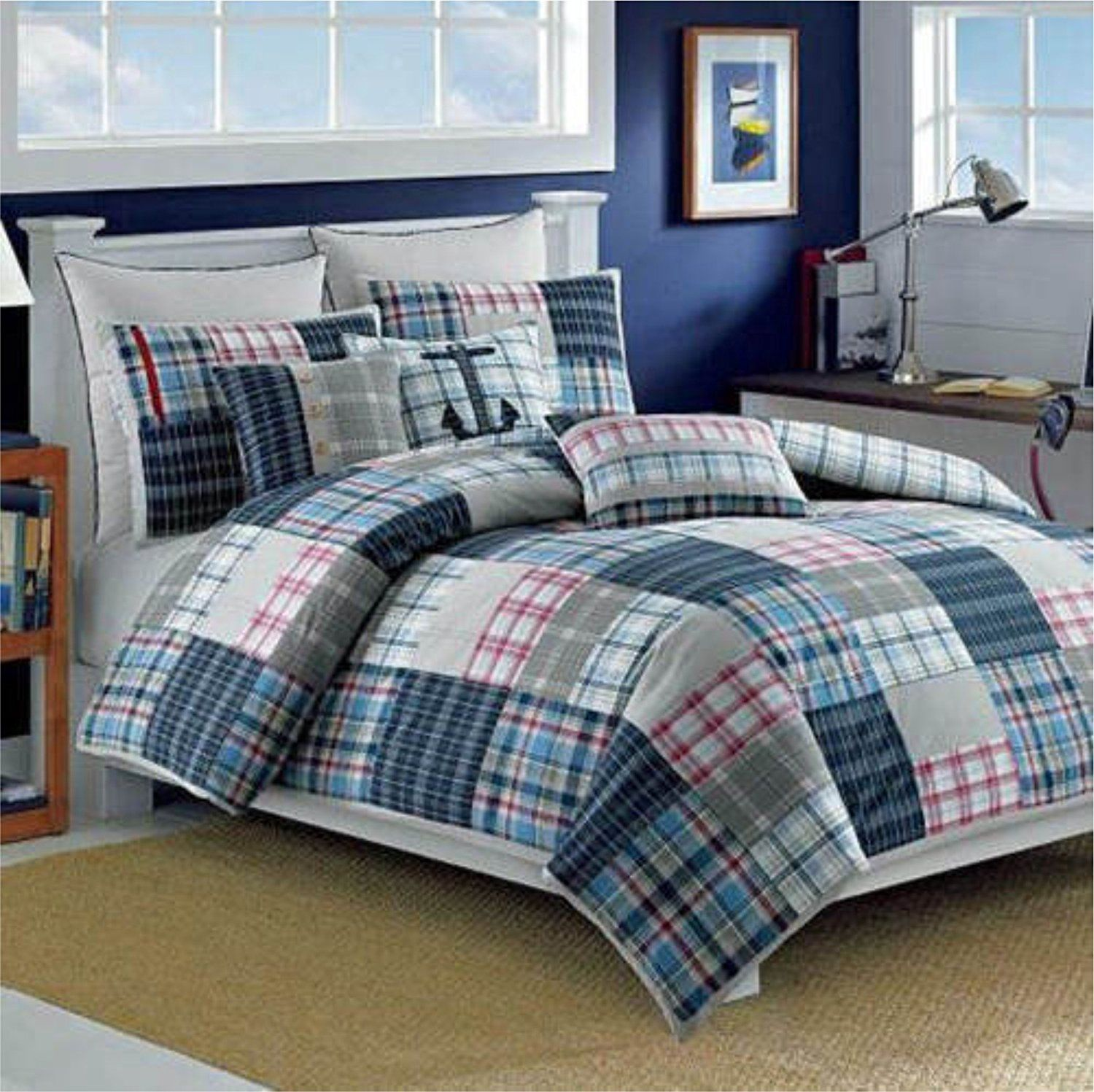 Nautica Set Of 2 Standard Quilted Shams (Mckay Checkerboard Red)
