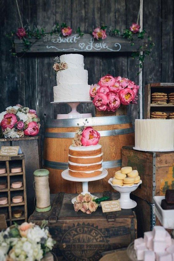 country wedding cake dessert table idea