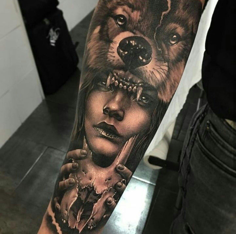 Tattoo By Ig Alexyoungtattoo Headdress Tattoo Wolf Girl Tattoos Wolf Tattoos