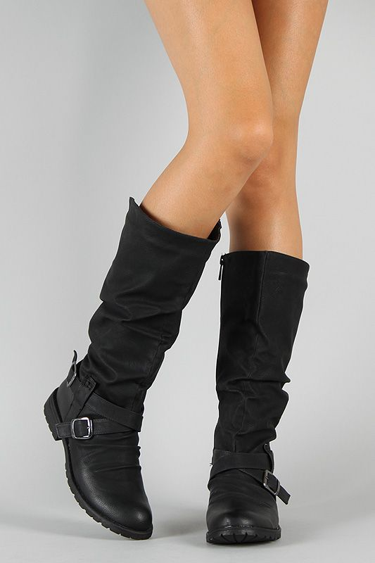 e46dfb69b30 Bamboo Kacy-02 Buckle Slouchy Riding Knee High Boot in Black Size  8 ...