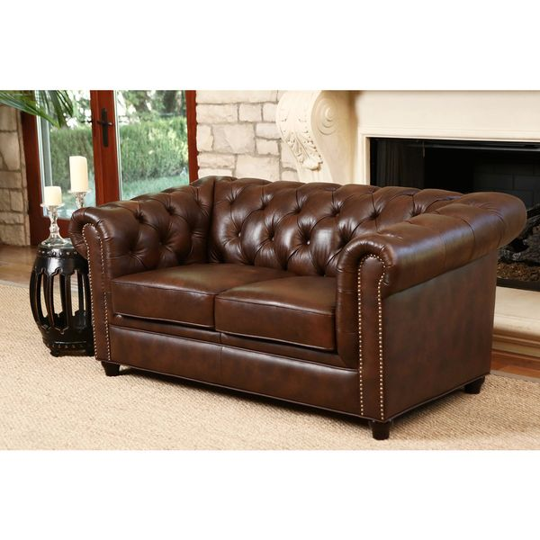 ABBYSON LIVING Vista Tufted Distressed Brown Italian Chesterfield Leather Loveseat Office