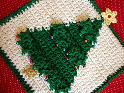 Christmas Tree Potholder Holiday Crochet Patterns Christmas Crochet Crochet Xmas