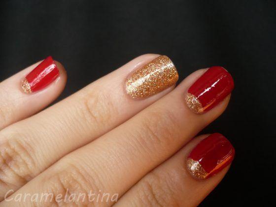 Uñas color rojo con dorado - 20 Ideas geniales