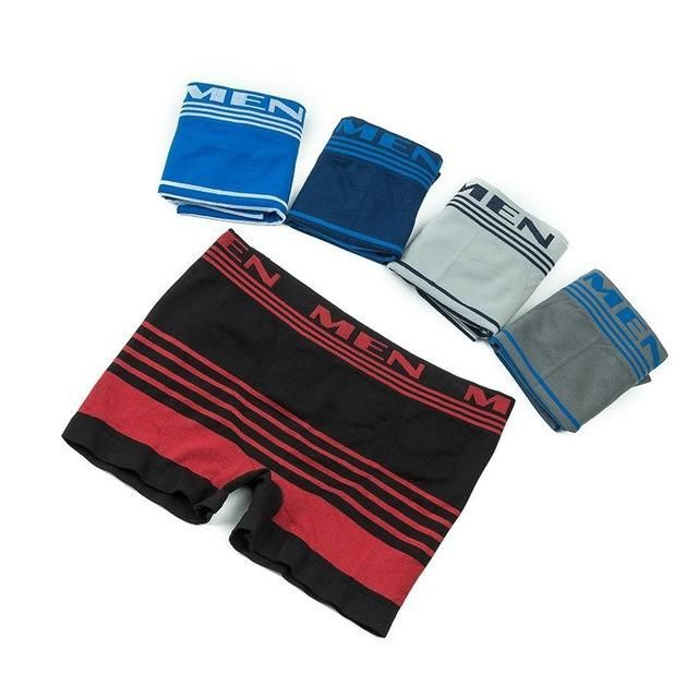 Men Underwear Boxers 2017 Secret Dig 5pcs Men's Four-legged Underwear Boxer Stripes Seamless Sexy Comfortable Free Shipping