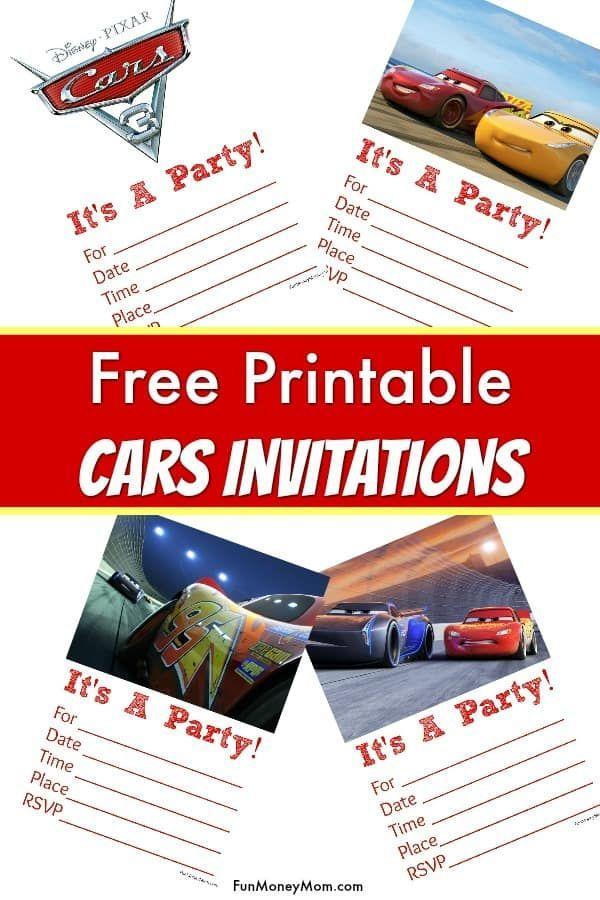 Free Printable Cars Invitations | Cars birthday invitations, Cars ...