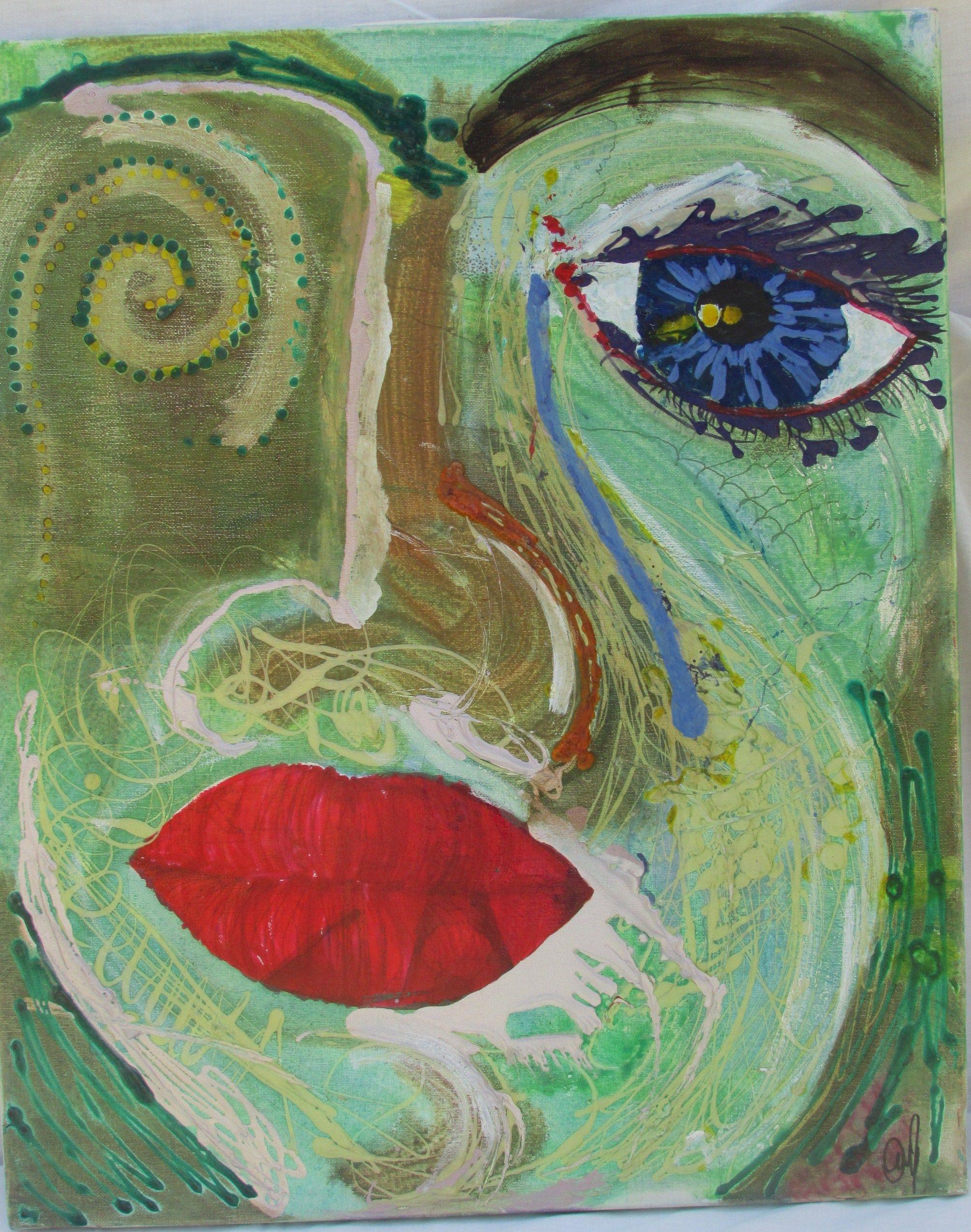 Hermosa Pintura Con Esmalte De Uñas Sobre Lienzo Embellecimiento ...