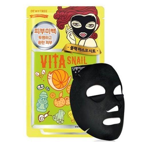 Dewytree Vita Snail Black Sheet Face Skin Mask Pack 30g X 10 Pcs New