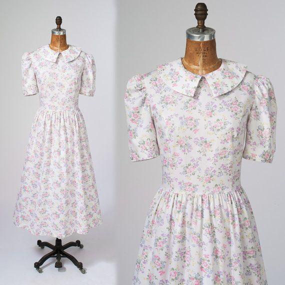 Laura Ashley White Floral Dress: 80s Vintage Cotton