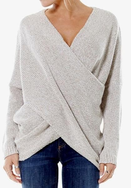 865b3bc91752 Buy Beige Plain Front Cross Irregular V-neck Long Sleeve Oversized Pullover  Sweater online with cheap prices and discover fashion Sweaters,Pullovers ...