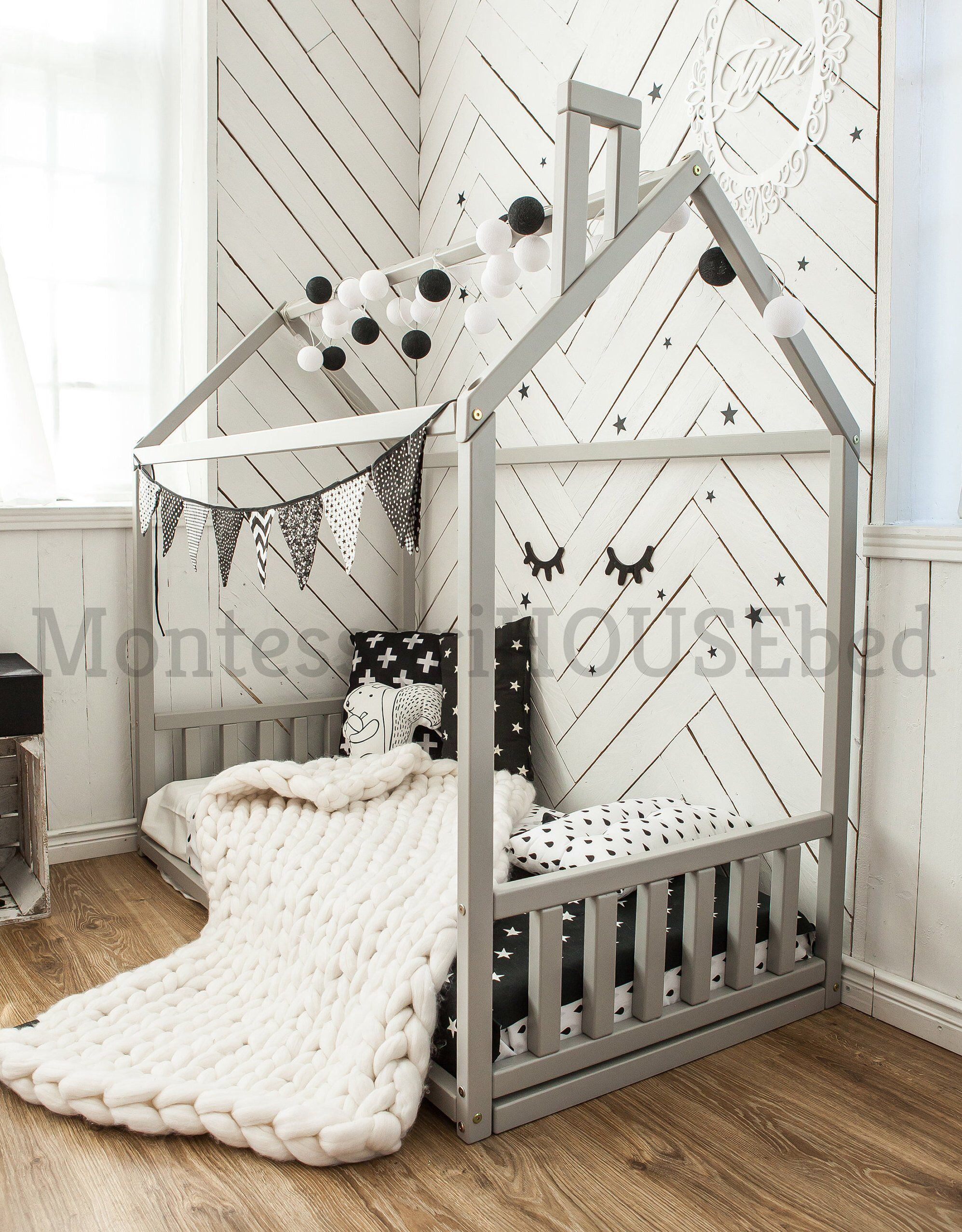 Toddler House Bed Frame With Slats Montessori Bed Teepee Etsy Kids Bed Design Toddler House Bed House Frame Bed