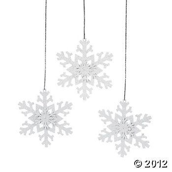 Iridescent Glitter Snowflake Ornaments, Ornaments, Party Decorations, Party Themes & Events - Oriental Trading