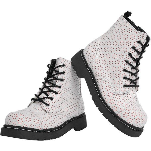 White & Coral Flower Perforated Anarchic Combat Boots | T.U.K. Shoes ($100) ❤ liked on Polyvore featuring shoes, boots and ankle booties