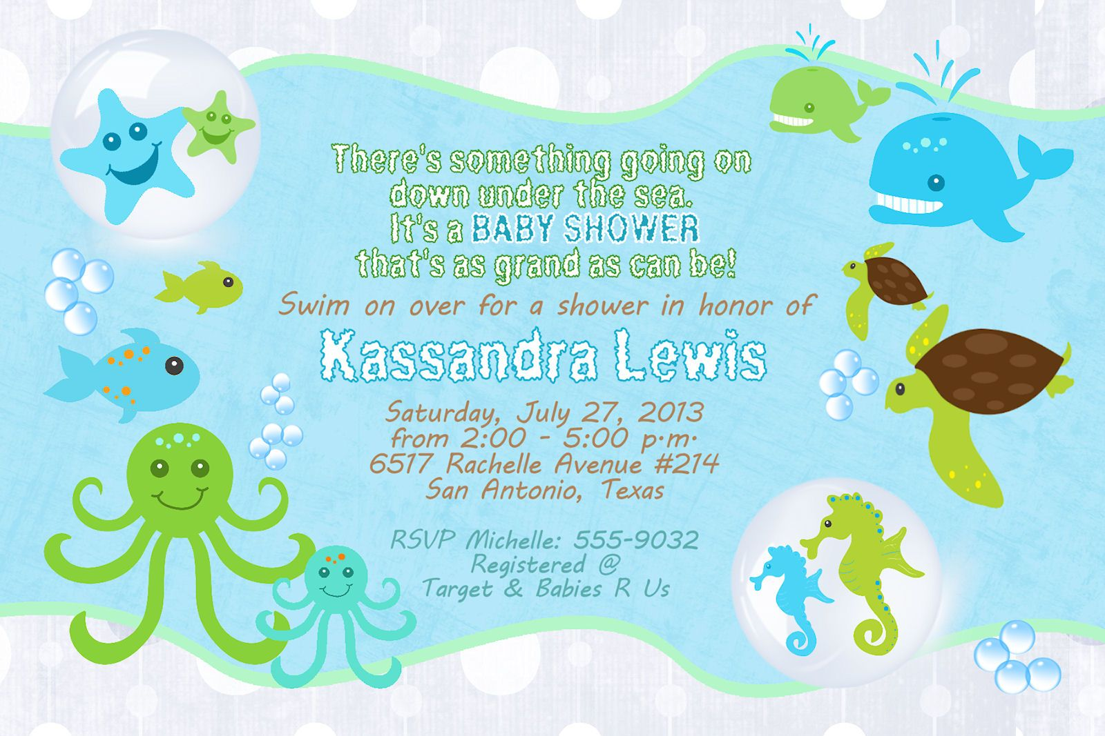 Ocean Baby Shower Invitations Under The Sea Turtle Seahorse Starfish