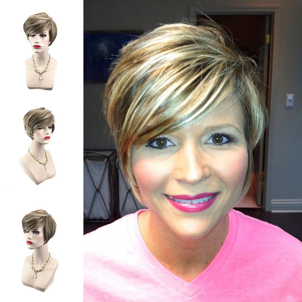 New pc cm short light yellow brown gradient color curly wigs for